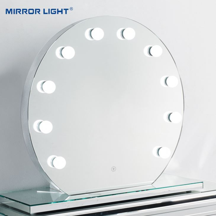 Crystal Reflection Round Mirror with Lights